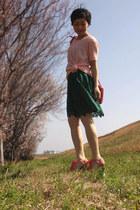 green lace Zara dress - light pink Theory sweater