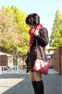 Pink-bottega-veneta-purse-gray-topshop-cardigan-shorts-black-socks-black