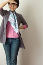 Blue-hermes-scarf-gray-blazer-pink-top-blue-jeans