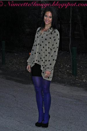 blue peacock Mod Cloth tights - black BCBG skirt - tan polka dot Mink Pink top