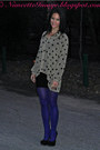 Blue-peacock-mod-cloth-tights-tan-polka-dot-mink-pink-top-black-bcbg-skirt
