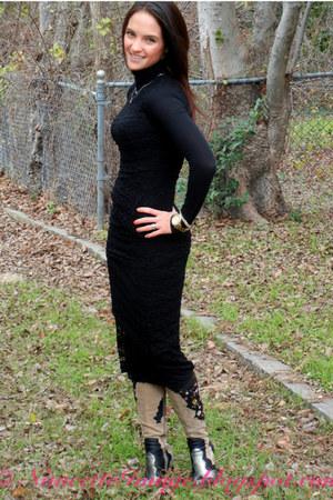 dress - boots - shirt