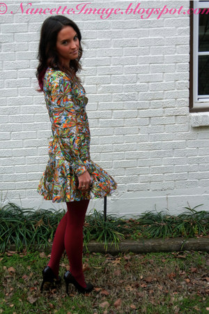 olive green vintage dress - maroon Anthropologie tights