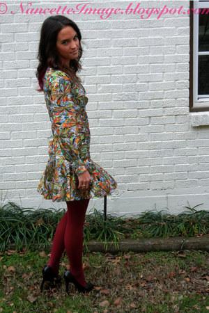 olive green vintage dress - maroon Anthropologie tights