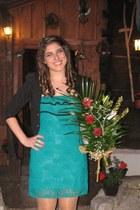 turquoise blue dress - black blazer - beige tights
