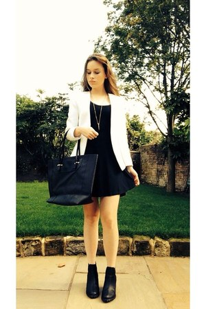 black Monki boots - black dress - white blazer - black Topshop bag
