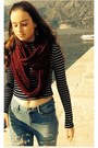 Light-blue-topshop-jeans-crimson-infinity-new-look-scarf
