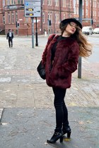 ankle boots Boohoo boots - faux fur Label Lab coat - black H&M hat