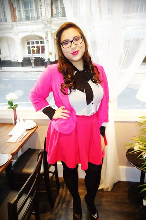 hot pink Zara blazer - hot pink Zara skirt - black Christian Louboutin pumps