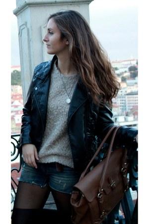 black Zara jacket - black Oysho tights