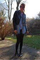 black h&m divided jacket - blue Zara shirt - white mtwtfss weekday top - blue Ve