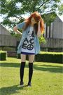 Blue-zara-shirt-white-bikbok-top-blue-h-m-skirt-black-h-m-socks-black-h-