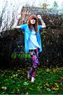 Blue-zara-shirt-white-h-m-top-purple-urban-outfitters-leggings-brown-h-m-s