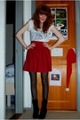 White-topshop-top-red-monki-skirt-black-gina-tricot-tights-black-defeeter-