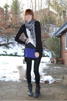 black H&M cardigan - white H&M top - blue H&M skirt - black H&M tights - black D