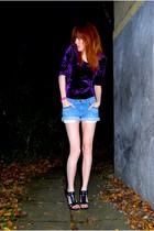 purple BikBok dress - blue Zara shorts - black Bianco Footwear shoes
