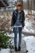 black H&M jacket - black H&M cardigan - gray Topshop shirt - white H&M top - blu
