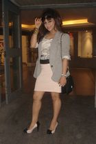 pink skirt - pink shoes - gray blazer - white top - black belt - black purse