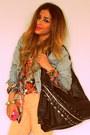 Black-floral-shirt-zara-shirt-peach-pastel-forever-21-jeans