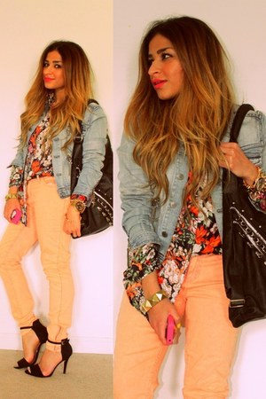 peach pastel Forever 21 jeans - blue denim jacket H&amp;M jacket