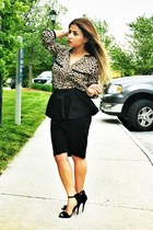 black peplum skirt asos skirt - tan Zara shirt - black Zara heels