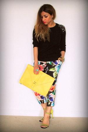 Forever 21 sweater - asos bag - floral print H&M pants - neon Zara heels