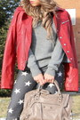 Ruby-red-vintage-jacket-heather-gray-stars-print-forever21-jeans