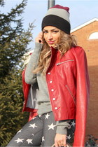 ruby red vintage jacket - heather gray stars print Forever21 jeans