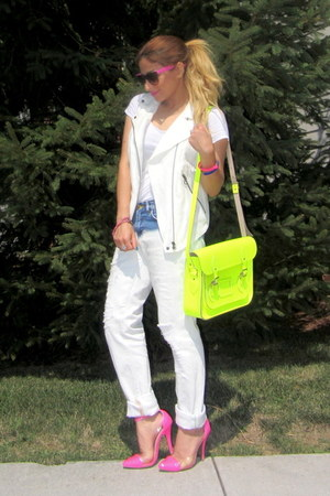 yellow neon bag cambridge satchel bag - white Zara jeans - white Zara vest