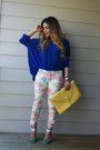 White-zara-pants-blue-oversized-romwe-sweater-yellow-asos-bag