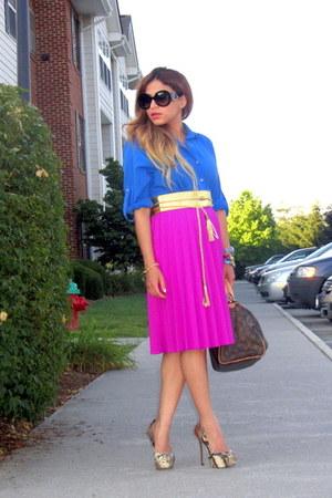 gold vintage from Ebay belt - blue Zara shirt - brown Louis Vuitton bag