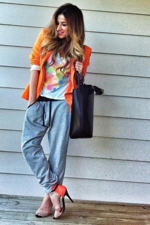 neon Zara blazer - Forever 21 t-shirt - Zara pants