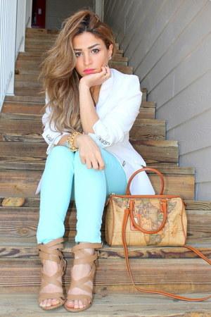 white Zara blazer - tan Alviero Martini bag - aquamarine Charlotte Russe pants