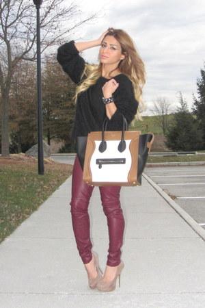 white mini luggage Celine bag - black H&M sweater