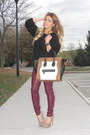 Black-h-m-sweater-white-mini-luggage-celine-bag