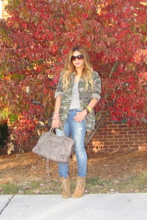 dark khaki camo jacket Topshop jacket - camel Zara boots