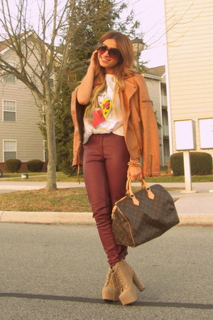 tan Jeffery Campbell boots - bronze Zara jacket - brown LV bag