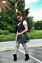 black Isabel Marant sneakers - black studded bag VJ Style bag
