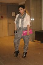gray Topshop pants - pink Sonia Rykiel for H&M purse - black H&M shoes - white B