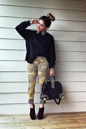 H&M sweater - leopard print Topshop jeans - romwe blouse - Charlotte Russe heels