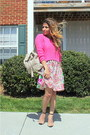 Hot-pink-forever-21-sweater-tan-floral-h-m-dress