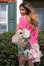 Tan-floral-h-m-dress-hot-pink-forever-21-sweater