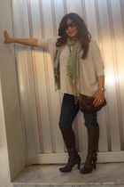 beige Forever 21 top - green H&M scarf - brown Nine West boots - brown H&M purse