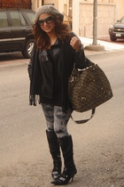 black Mango jacket - silver H&M leggings - black vintage boots - gray Guess acce