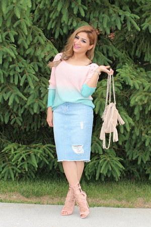 light blue Zara skirt - light pink shopakira sweater - light pink UrbanOG heels
