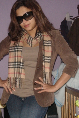 brown blazer - beige scarf - beige top