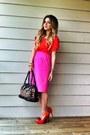 Red-zara-shirt-black-leopard-print-nine-west-bag-hot-pink-zara-skirt