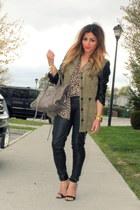 dark khaki Zara jacket - tan leopard print Zara shirt