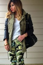 olive green leather sleeved Zara jacket - black oversized Black Rivet bag