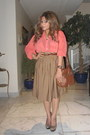 Light-orange-shear-american-apparel-shirt-camel-h-m-bag